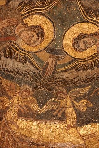 Détail de la mosaïque, probablement l'oeuvre d'un artiste byzantin.