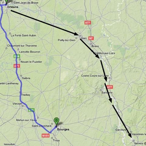 Notre itinéraire entre Orléans et Nevers par la rive gauche