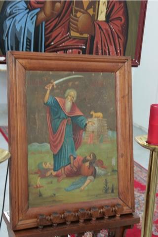 Elie avec son sabre, un saint très vénéré au Liban