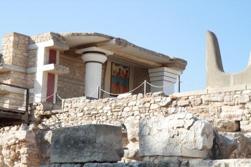 Partie de site de Cnossos, reconstituée au début de 20è siècle.