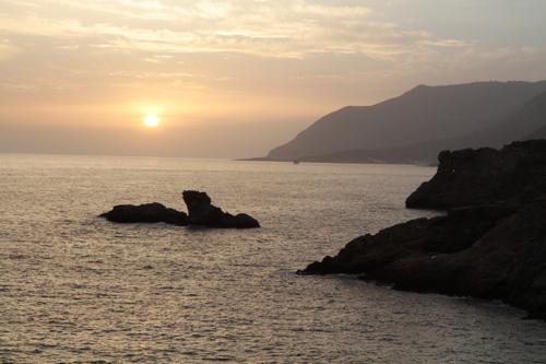 Coucher de soleil sur Hora Skafion (sud ouest)