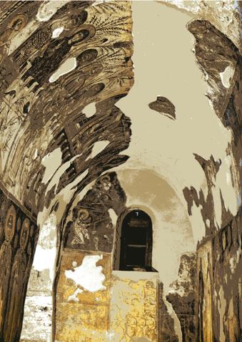 """A l'intérieur de la petite église, des fresques du XIV et XV siècle. Un joyau que l'on ne peut photographier. Photo tirée du livre """"Panagia Kéra"""" de Manolis Borboudakis."""