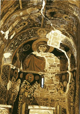 D'après une inscription, cette fresque a été réalisée grâce aux contributions des villageois au XIV siècle...(photo scannée)