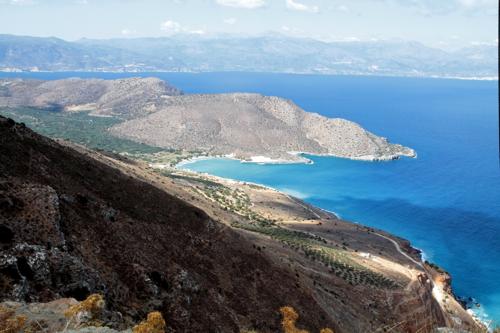 La baie de Mirabello vu de la route de Sitia