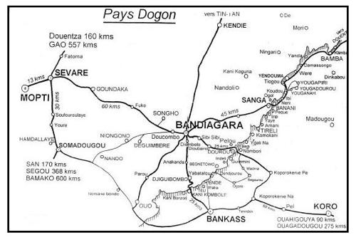 Carte du pays Dogon au Sud ESt du Mali