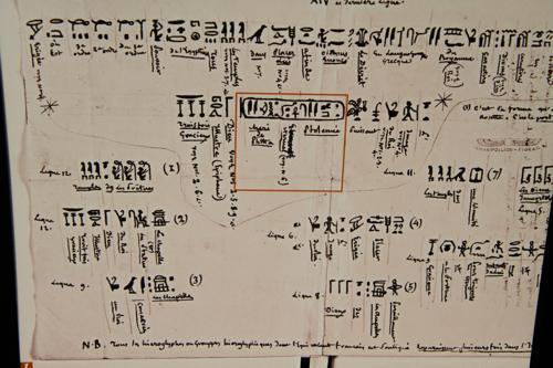 Document de Champollion qui analyse d'après la Pierre de Rosette, le mot Ptolémée écrit en trois caractères différents.