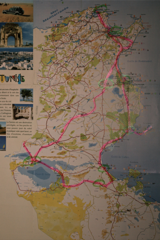 Notre parcours, Carthage, Bizerte, Kairouan, Tozeur, Matmata, Gabès, Sfax, Sousse, Tunis.