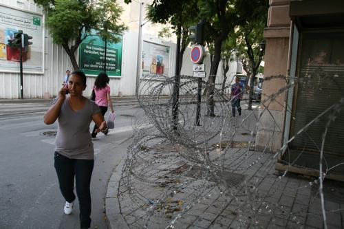Reste de la révolution à Tunis aux abords des batiments gouvernementaux