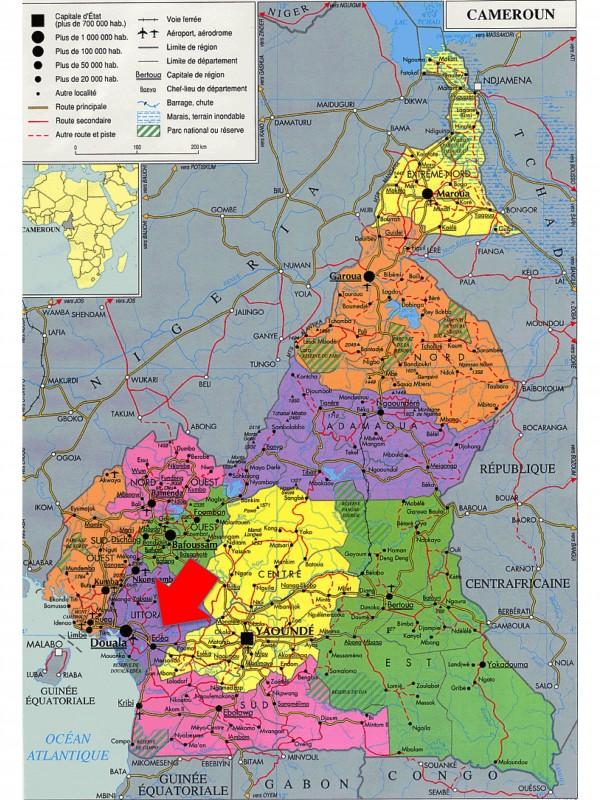 Carte du Cameroun et position d'Edea