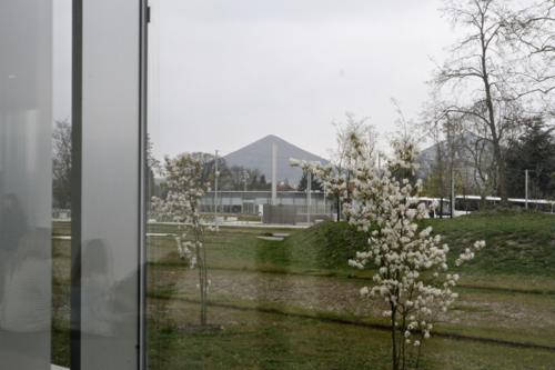 Au terme de la visite de la Galerie du Temps, l'espace s'ouvre sur l'extérieur, ici sur les terrils