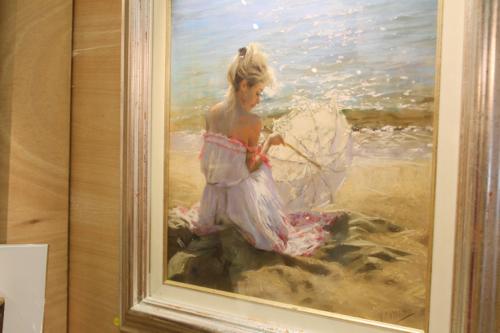 Carmina en la playa pastel de Vicente Romero