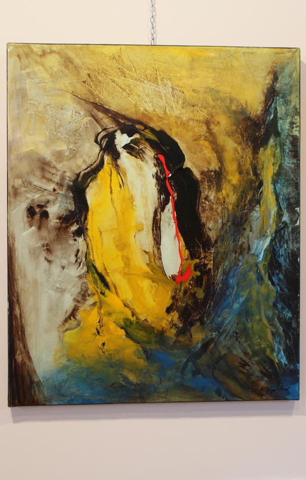 """Mon coup de cœur : Les oiseaux n'arrêteront pas de chanter"""" acrylique que Dalia a peint au lendemain du drame de janvier 2015."""