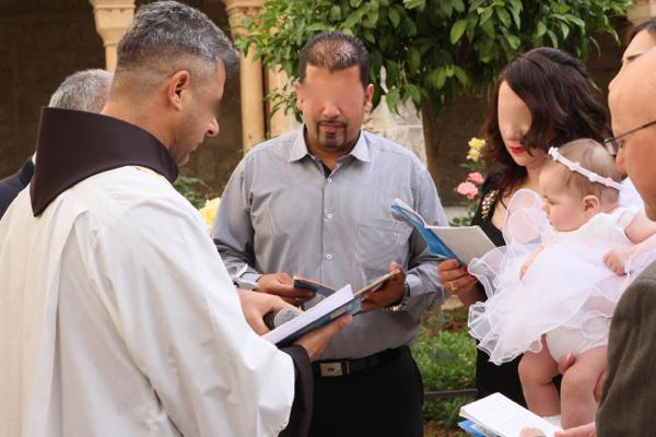 Baptême dans la basilique de la Nativité à Bethléem