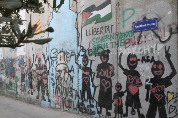 Graffitis du mur de l'apartheid qui entoure Bethléem