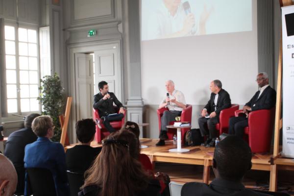 De gauche à droite Emmanuel Kherad de Frnce Inter, Gabriel Bergougnoux,