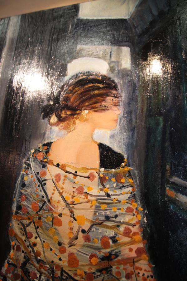"""Détail """"Le châle d'Anne-laure"""" HST de Julie Roussin-Bouchard"""