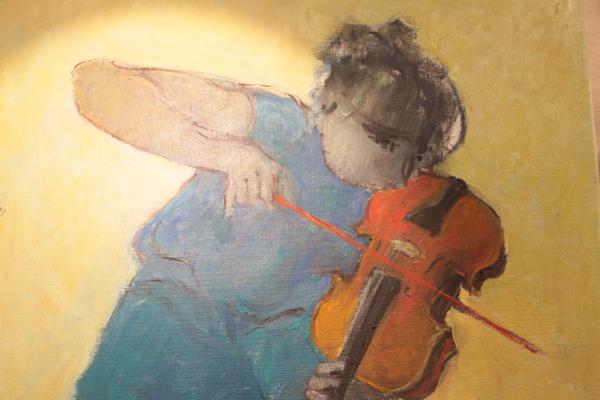 """Détail de """" Concerto"""" HST de Guy Demun. Peut être le plus ancien artiste du Salon. Il expose régulièrement à Cannes et à Paris."""